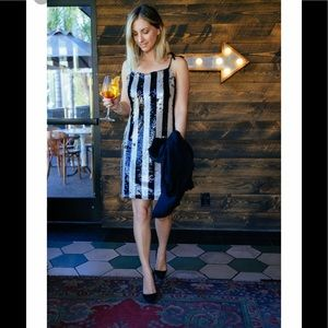 Cupcakes and Cashmere Johan Striped Sequined Dress